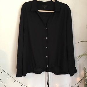 J. Jill Wearever Black Blouse Drawstring Waist
